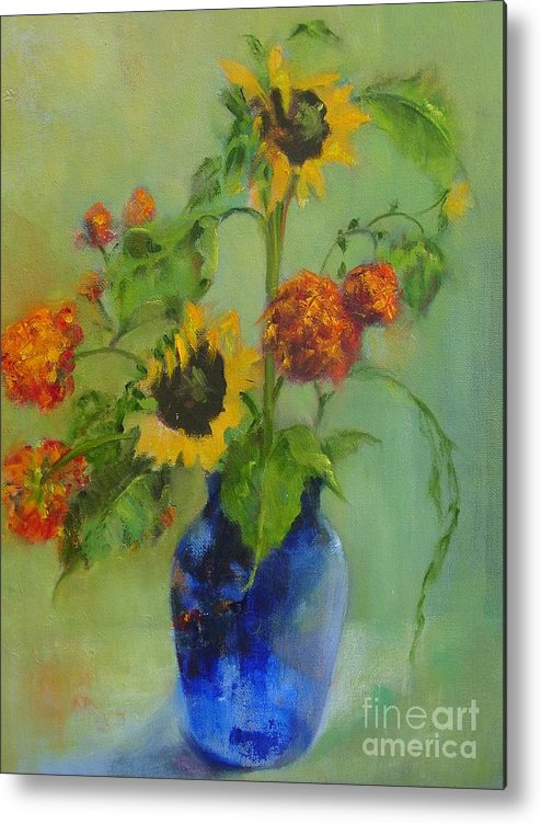 Contemporary Floral Metal Print featuring the painting Sunflowers In Blue     Copyrighted by Kathleen Hoekstra