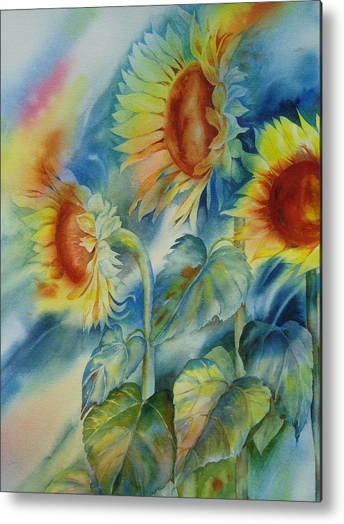 Sunflowers Metal Print featuring the painting Sunny Flowers by Tara Moorman
