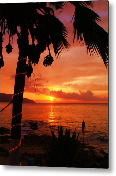 Sunset Metal Print featuring the painting Sunset At Off The Wall by Linda Morland