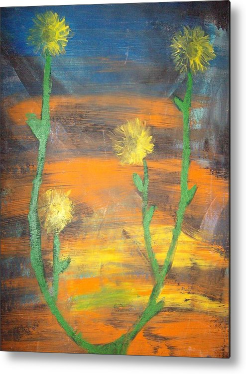 Sunset Metal Print featuring the painting Sunset Sunflower by Samantha Gilbert