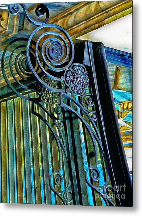 Wrought Iron Metal Print featuring the photograph Surreal Reflection And Wrought Iron by Frances Ann Hattier