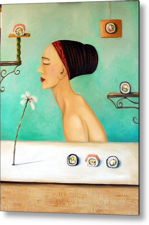Sushi Metal Print featuring the painting Sushi Lover by Leah Saulnier The Painting Maniac