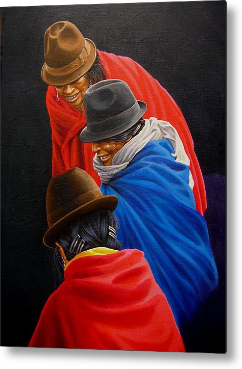 Fotorealism Metal Print featuring the painting Susurros by Laine Garrido