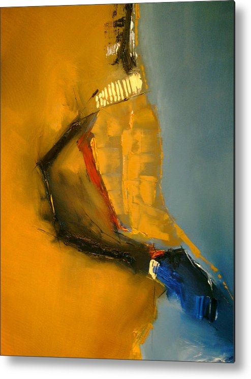 Abstract Metal Print featuring the painting Sympathetic Blue Hue by Stefan Fiedorowicz