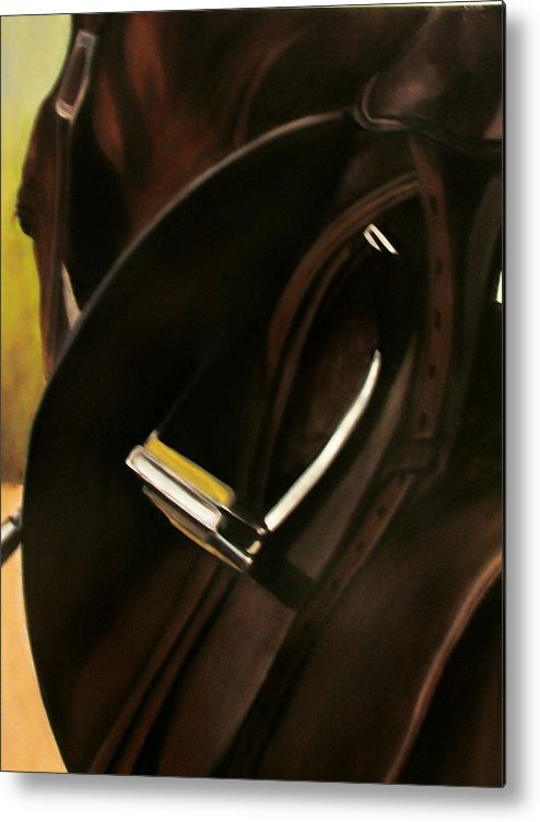 Horse Metal Print featuring the painting Tacking Up by Donna Thomas