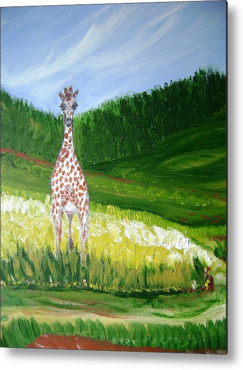 Giraffe Metal Print featuring the painting Taking In The View by Laura Johnson