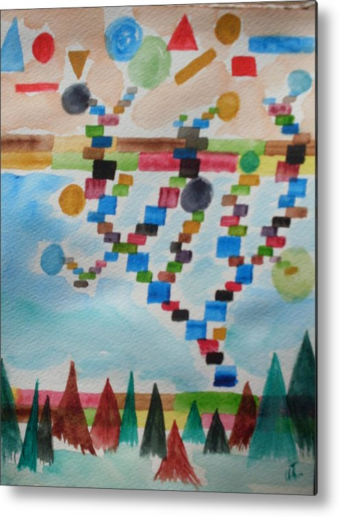 Abstract Metal Print featuring the painting Tetrus Meets Nature by Warren Thompson