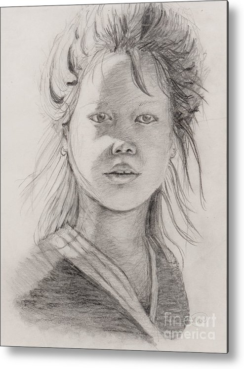 Portrait Metal Print featuring the drawing Thai Beauty by Nadine Rippelmeyer