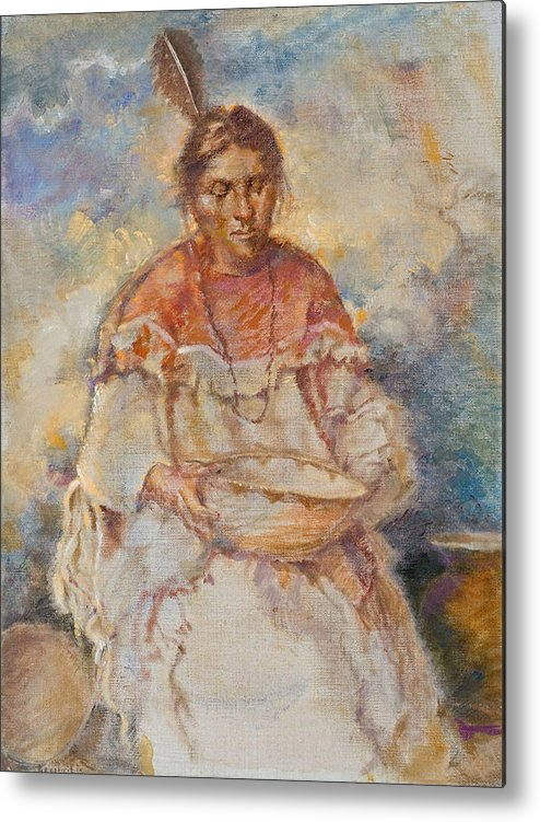 Native Americans Metal Print featuring the painting The Basket Maker by Ellen Dreibelbis