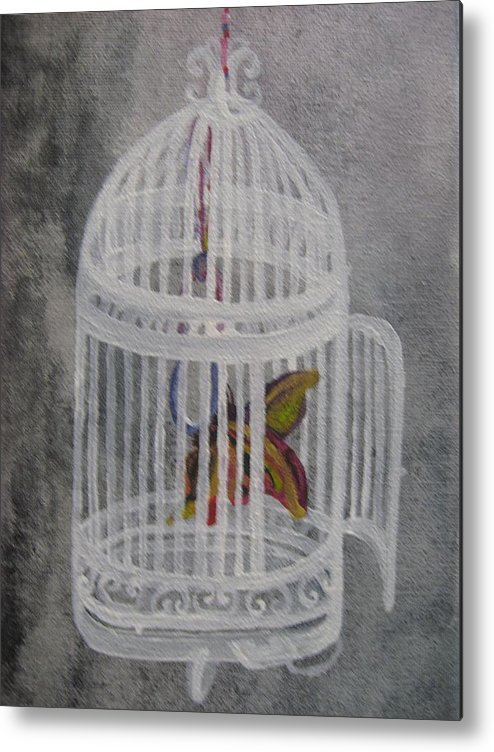 Butterfly Metal Print featuring the painting The Bird Cage by Theodora Dimitrijevic