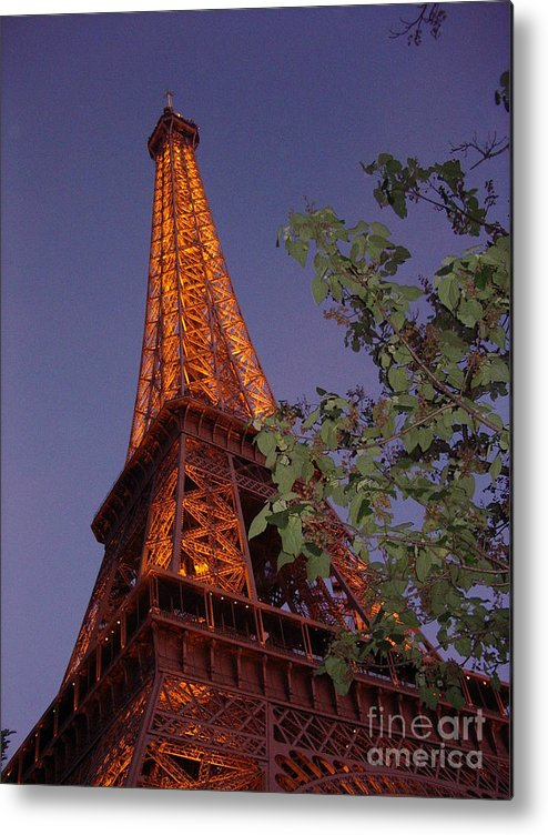 Tower Metal Print featuring the photograph The Eiffel Tower Aglow by Nadine Rippelmeyer