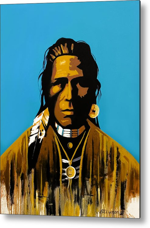 American Indian Portraiture Metal Print featuring the painting The First American by Brooke Lyman