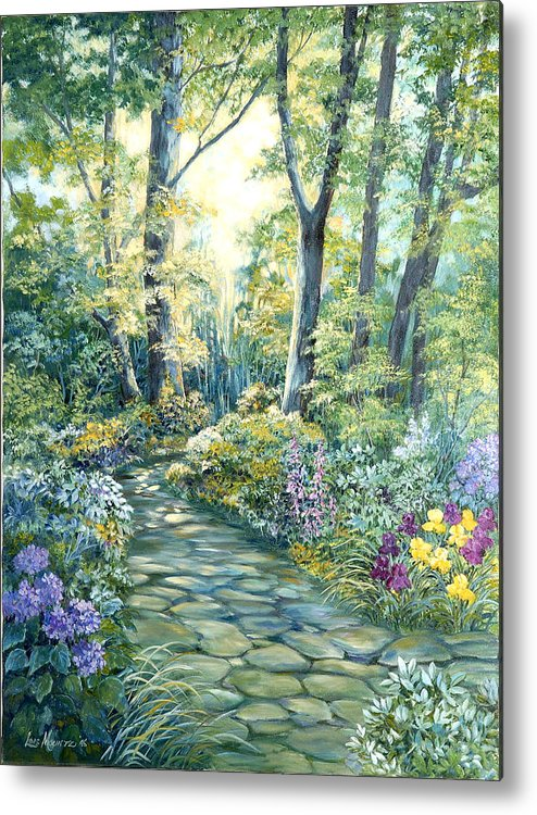 Metal Print featuring the painting The Garden Left Side Of Triptych by Lois Mountz
