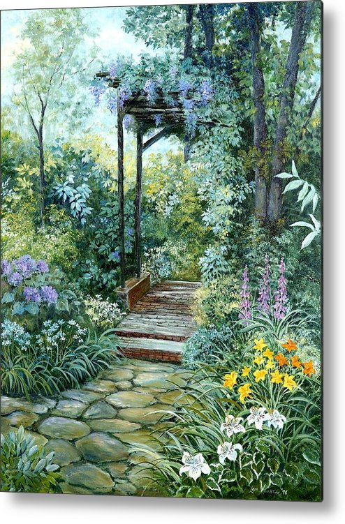 Oil Painting;wisteria;garden Path;lilies;garden;flowers;trellis;trees;stones;pergola;vines; Metal Print featuring the painting The Garden Triptych Right Side by Lois Mountz