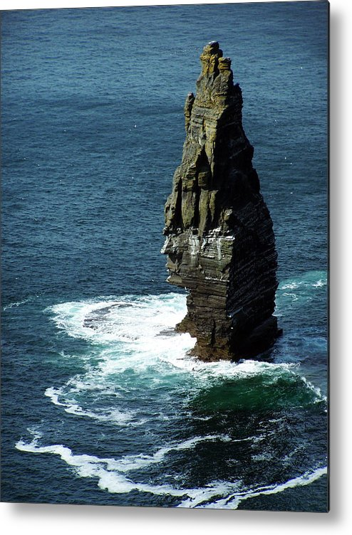 Irish Metal Print featuring the photograph The Great Sea Stack Brananmore Cliffs Of Moher Ireland by Teresa Mucha
