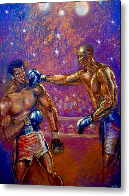 Boxing Metal Print featuring the pastel the Greatest Muhammed Ali vs Jack Johnson by Tommy Winn