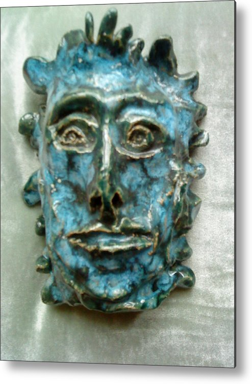 Green Man Metal Print featuring the ceramic art The Green Man by Paula Maybery