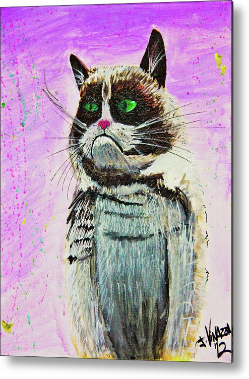 Grumpy Cat Metal Print featuring the painting The Grumpy Cat From The Internets by eVol i
