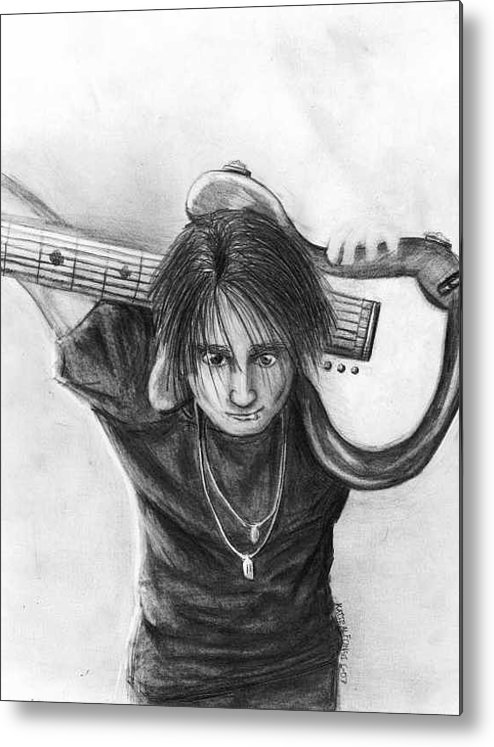 Guitarist Metal Print featuring the drawing The Guitarist by Katie Alfonsi