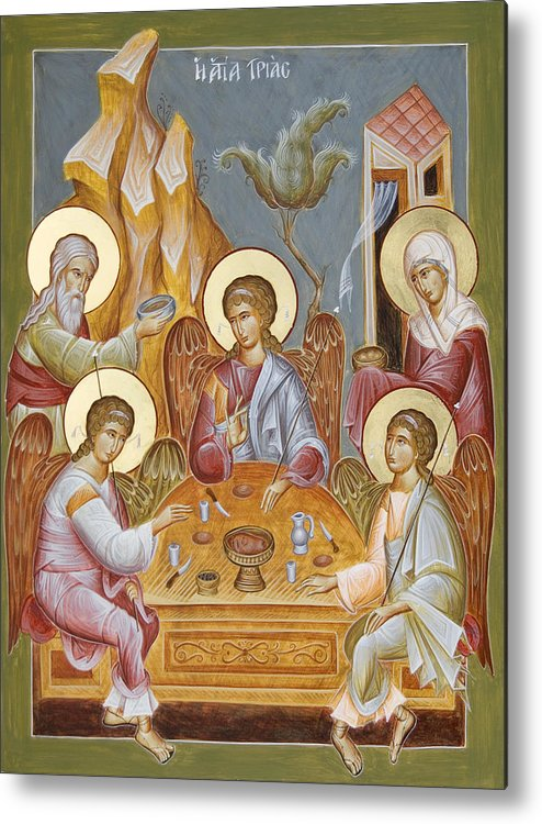 Holy Trinity Icon Metal Print featuring the painting The Holy Trinity by Julia Bridget Hayes