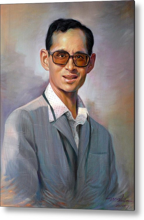 Portrait Metal Print featuring the painting The King Bhumibol by Chonkhet Phanwichien