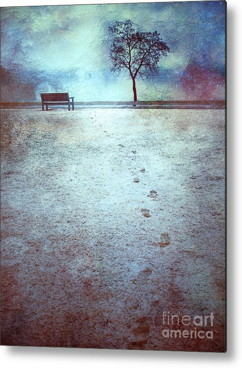 Bench Metal Print featuring the photograph The Last Snowfall by Tara Turner