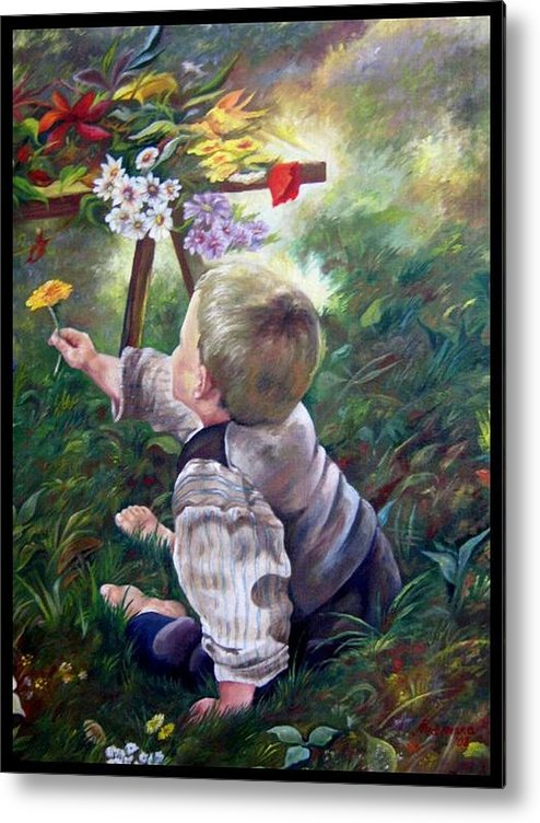 Persons Metal Print featuring the painting The Little Boy by Netka Dimoska