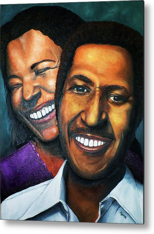 Portrait Metal Print featuring the painting The Luckiest Man by Alima Newton