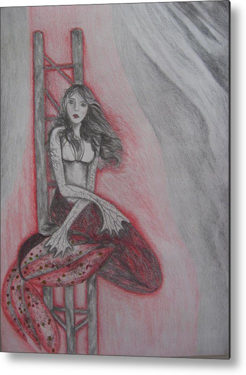 Mermaid Metal Print featuring the drawing The Mermaid by Theodora Dimitrijevic