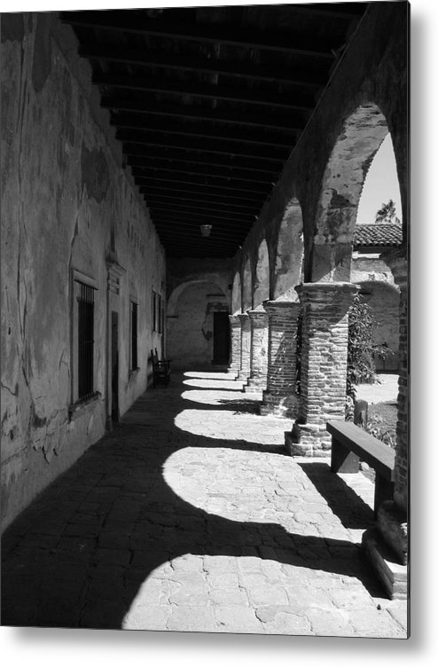Travel Metal Print featuring the photograph The Mission Arches by Beverlee Singer