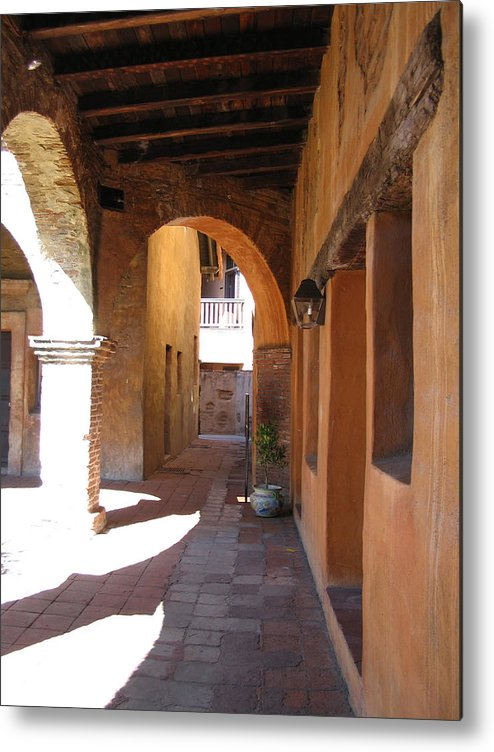 Travel Metal Print featuring the photograph The Mission At San Juan Capistrano by Beverlee Singer
