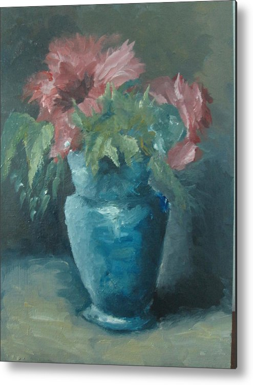 Still Life Metal Print featuring the painting The Most Beautiful Bouquet Of Roses by Kamal Medhat