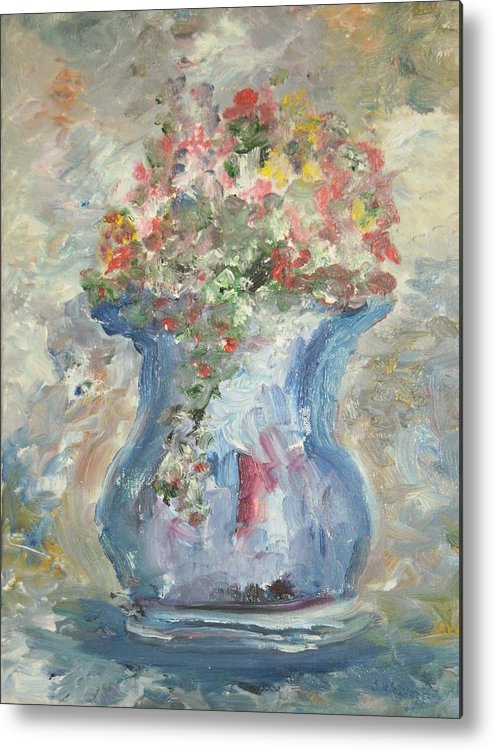 Still Life Metal Print featuring the painting The Oval Vase by Edward Wolverton