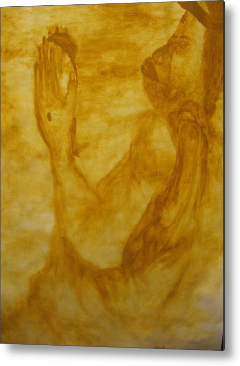 Gloria Ssali Metal Print featuring the painting The Potter by Gloria Ssali