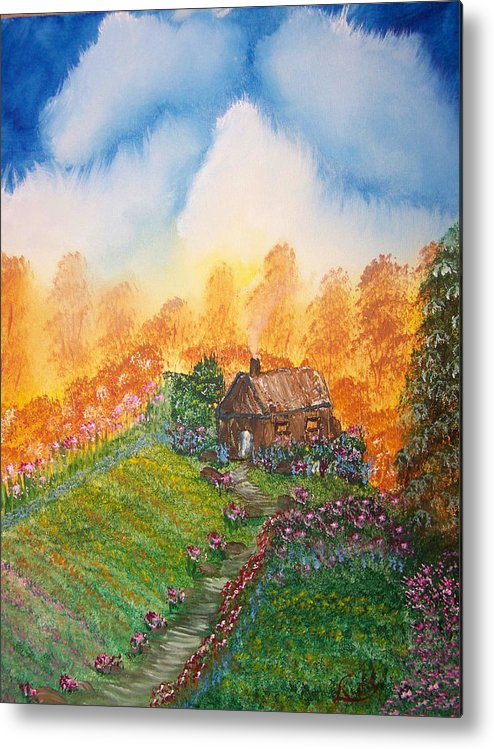 Cabin Metal Print featuring the painting The Secret Place by Laurie Kidd