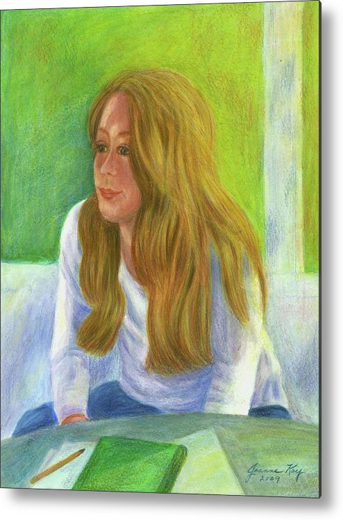 Student Daydream Portrait Metal Print featuring the painting The Student by Jeanne Kay Juhos