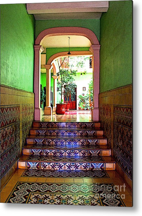 Patzcuaro Metal Print featuring the photograph Tiled Foyer 2 by Mexicolors Art Photography