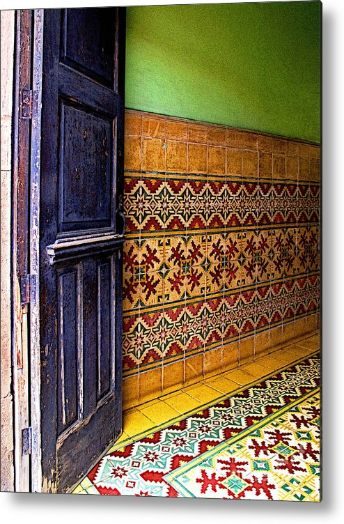 Patzcuaro Metal Print featuring the photograph Tiled Foyer by Mexicolors Art Photography