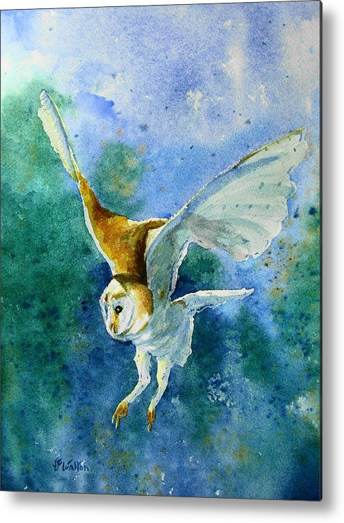 Owl Metal Print featuring the painting To Catch A Mouse by Judy Fischer Walton