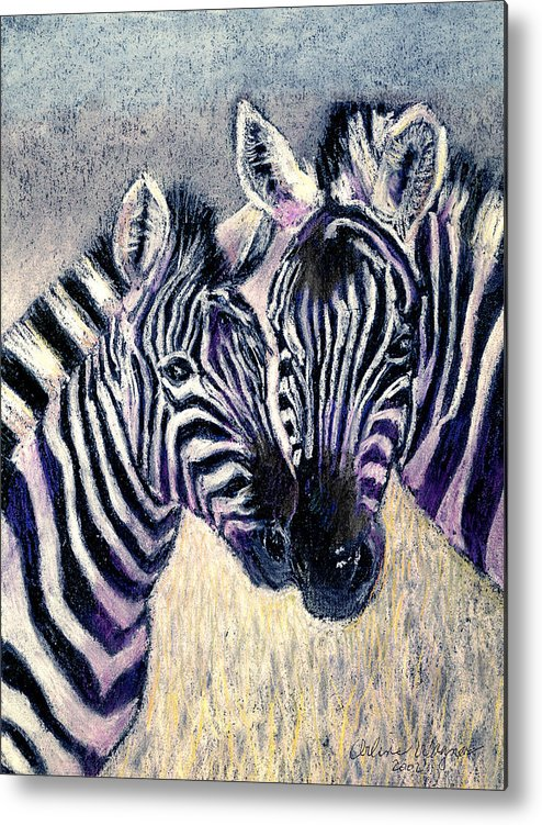 Zebras Metal Print featuring the pastel Together by Arline Wagner