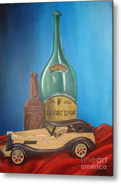Old Car Green Bottle Alchohol Wood Red Cloth Beer Collectable Table Top Cool Toy Whine Smooth Metal Print featuring the painting Toy Car And Bottles by Rosanna Hardin