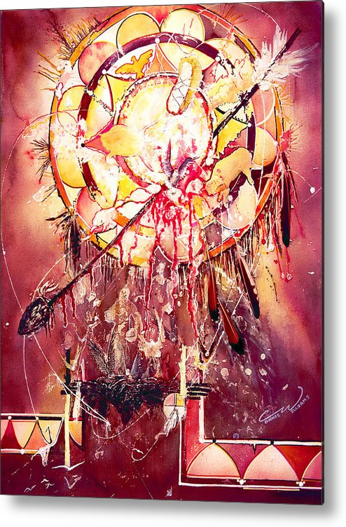Spirits Metal Print featuring the painting Transcending Indian Spirit by Connie Williams