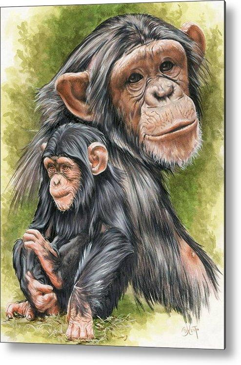 Chimpanzee Metal Print featuring the mixed media Treasure by Barbara Keith
