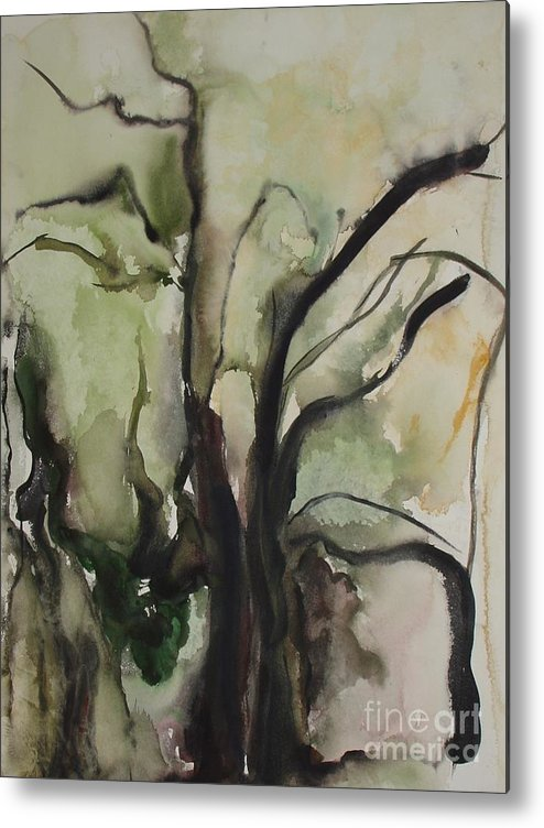 Tree Winter Abstract Original Painting Landscape Leila Atkinson Watercolor Wet On Wet Washes Trees Metal Print featuring the painting Tree Series V by Leila Atkinson