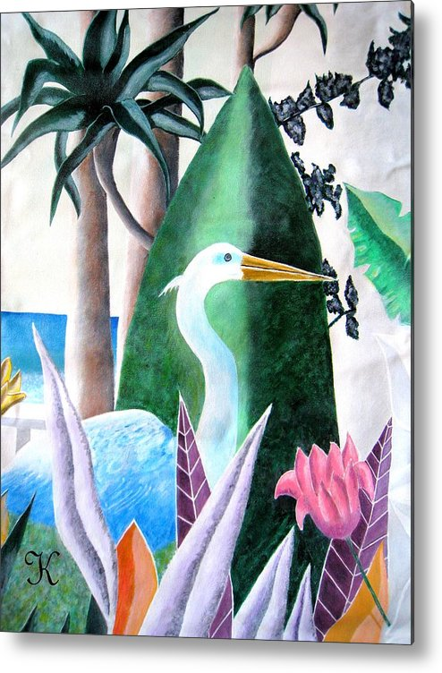 Plants Flowers Goose Metal Print featuring the painting Tropical Goose by Roger Golden