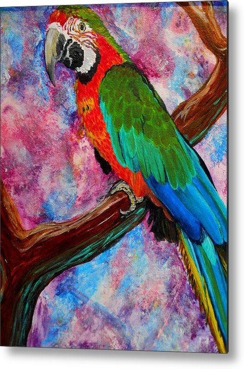 Birds Metal Print featuring the painting Tropical Parrot by Liz Borkhuis