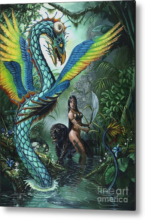 Dragon Metal Print featuring the painting Tropical Temptress by Stanley Morrison