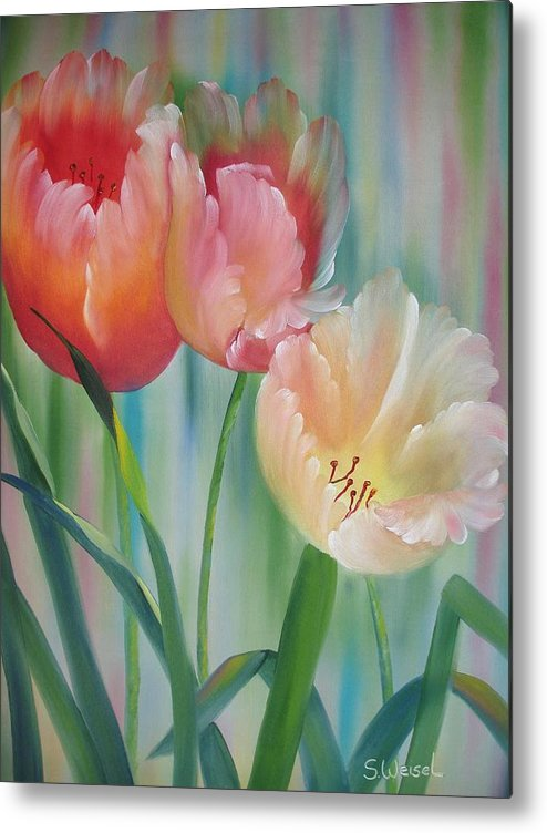 Floral Flower Tulip Exotic Green Red Orange Peach Yellow Holland Metal Print featuring the painting Tulips by Sherry Winkler