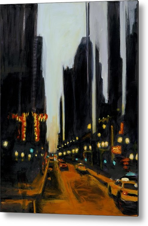 Rob Reeves Metal Print featuring the painting Twilight In Chicago by Robert Reeves