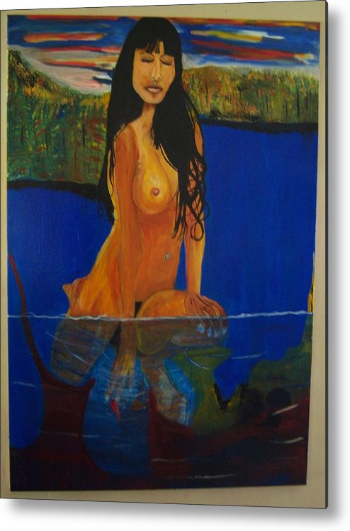 Nude Metal Print featuring the painting Underwater Woman by Dominic Angarano